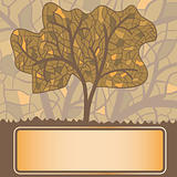 vector stained glass stylized autumn tree with frame