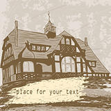 vector house on grunge background