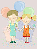 vector boy and girl holding hands with balloons and presents