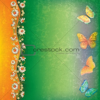 abstract background with butterfly and flowers