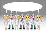 cartoon doctor and nurse speech card