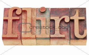 flirt in letterpress type