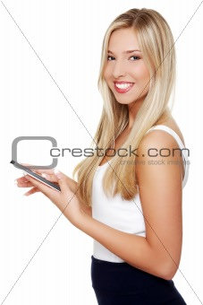 Beautiful woman using tablet computer