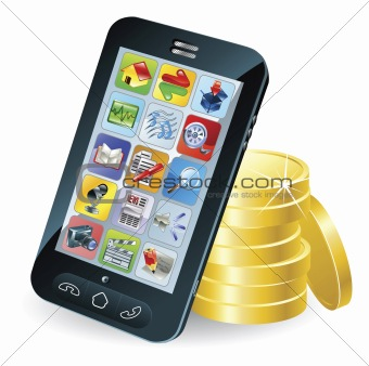 Smart phone and coins illustration