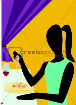 A woman having dinner