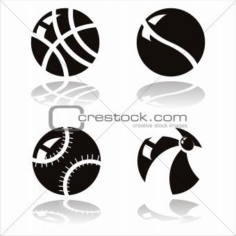 black sport balls icons