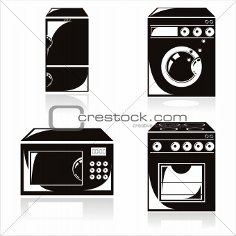 black housework electronics icons