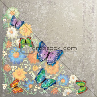 abstract grunge floral ornament and butterflies
