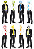 businessmen with symbol heads, vector