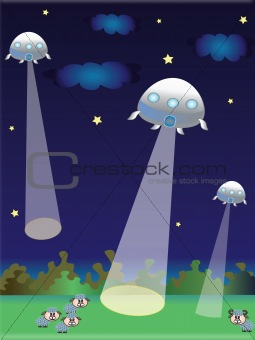 An illustration of a pair of UFO's in the night sky.