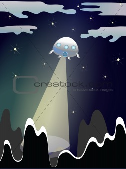 An illustration of a UFO in the night sky.