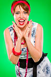 Cheerful woman holding hand near face and fun screaming. Pin-up and retro style .