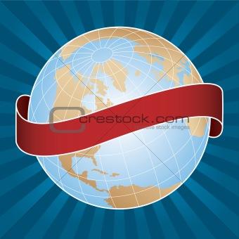 World globe with banner