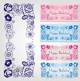 Happy birthday labels with floral frame