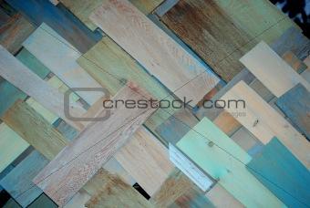 Blue and tan diagonal plywood.