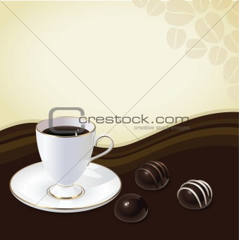 Vintage postcard with cup of coffee and chocolate