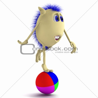 Blue haired 3D puppet balancing on ball