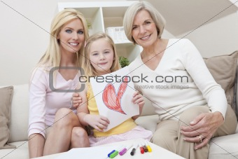 Mother, Daughter, Grandmother Generations at Home wih Heart Pict