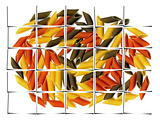 three colour penne italian pasta collage