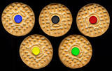 five cream cookies mimic Olympic rings