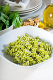 italian fusilli pasta and pesto