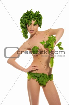 sexy woman with clothes made of vegetables