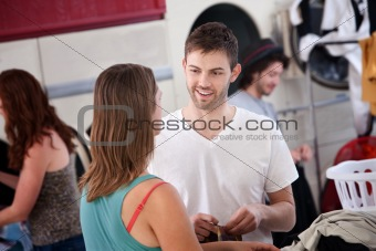 Man Flirting In Laundromat
