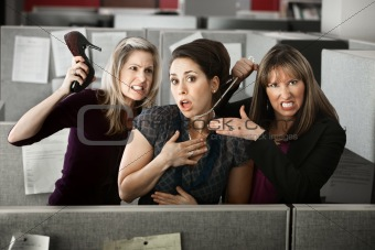 Three Women Quarreling In Office