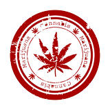 Red stamp with marijuana leaf