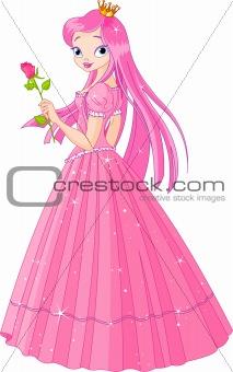 Beautiful pink princess with rose