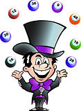 Hand-drawn Vector illustration of an Juggling Bingo Man