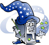 Hand-drawn Vector illustration of an Wizard Computer Repairman
