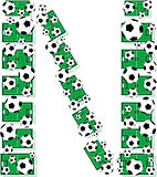 N, Alphabet Football letters made of soccer balls and fields.