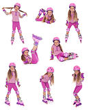 Roller skater girl in  different positions