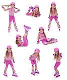 Roller skater girl in  different positions