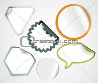 Set of fresh white labels with colorful borders