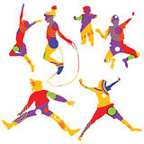 colorful silhouettes of kids jumping