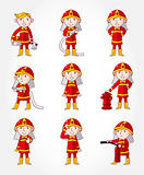 cartoon Fireman icon set