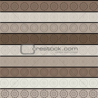 Background with abstract flowers and stripes