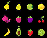 Fresh Fruit &amp; berries icon set isolated on black