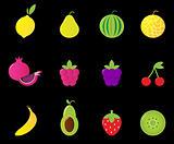 Fresh Fruit & berries icon set isolated on black