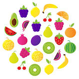 Fresh fruit & berries circle isolated on white