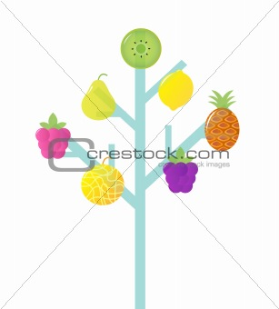 Abstract stylized Retro Fruit Tree isolated on white