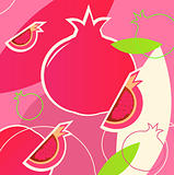 Wild fresh Pomegranate fruit summer background - pink, white, gr
