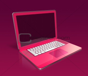 three dimensional pink laptop isolated on a purple background