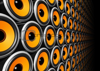 orange speakers wall
