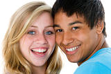 Close-Up Portrait Of Teenage Couple,