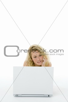 Portrait Of Teenage Girl On Her Laptop