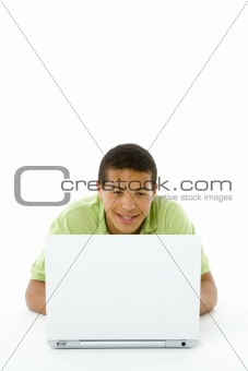 Portrait Of Teenage Boy On His Laptop