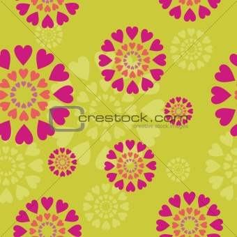 background with hearts and flowers